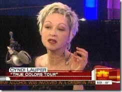 Cyndi on the Today Show promoting True Colors