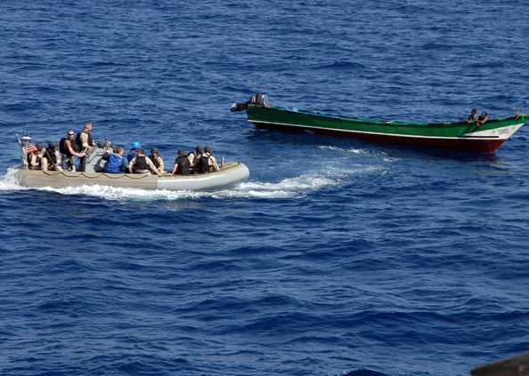 GULF OF ADEN (Apr 3, 2008) The visit, board, search, and seizure team members assigned to the guided-missile destroyer USS Bulkeley (DDG 84) render assistance to a stranded fishing vessel. Bulkeley is one of six vessels assigned to the Nassau Expeditionary Strike Group deployed to the U.S. 5th Fleet area of responsibility supporting maritime security operations. U.S. Navy photo by Mass Communication Specialist 3rd Class David Wyscaver (RELEASED).